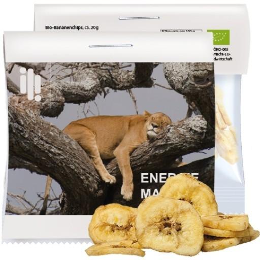 Bio Bananenchips, ca. 20g, Express Maxi-Tüte mit Werbereiter