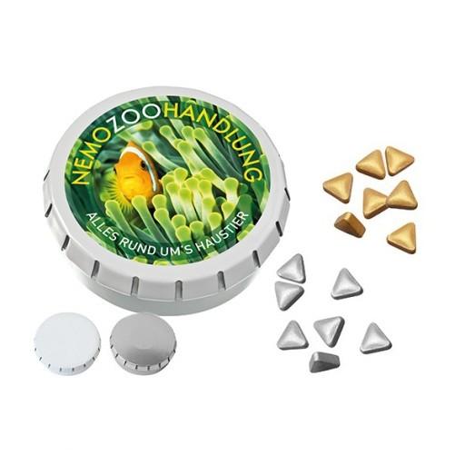 SUPER-MINI-Drück-mich-Dose mit Pfefferminz Gold- oder Silbernuggets