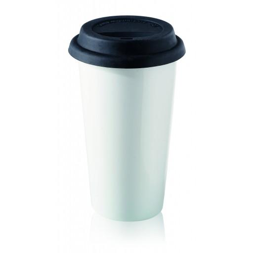Porzellan-Tasse ToGo, weiß 33 cl
