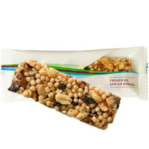 Bio Müsliriegel Cranberry-Mandel, ca. 25g, Express Flowpack mit Etikett | transparente Folie
