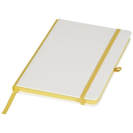 Digital-Druck-Notizbuch mit PU-Umschlag und farbigem Rücken | Weiss,Gelb