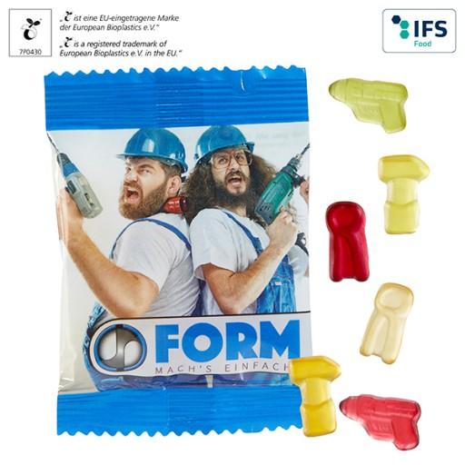 Fruchtgummi-Handy 10 g in kompostierbarem Werbetütchen | 1-farbig | Fruchtmix