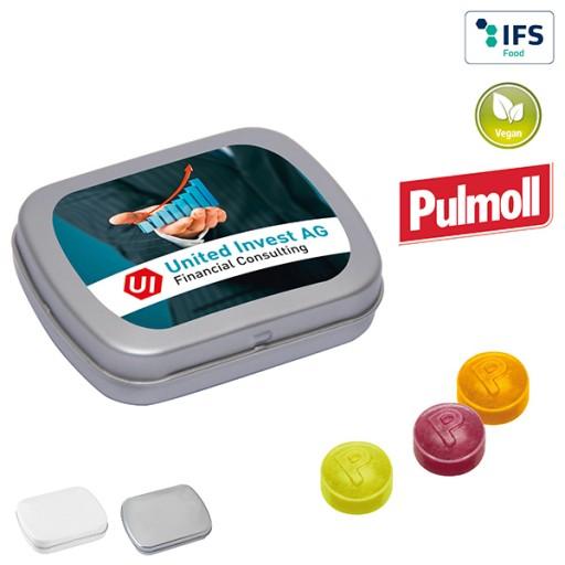 MINI-Klappdose mit Pulmoll Halsbonbons   1-farbig