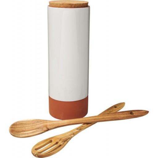 Terracotta-Pastabehälter mit Löffeln | Orange