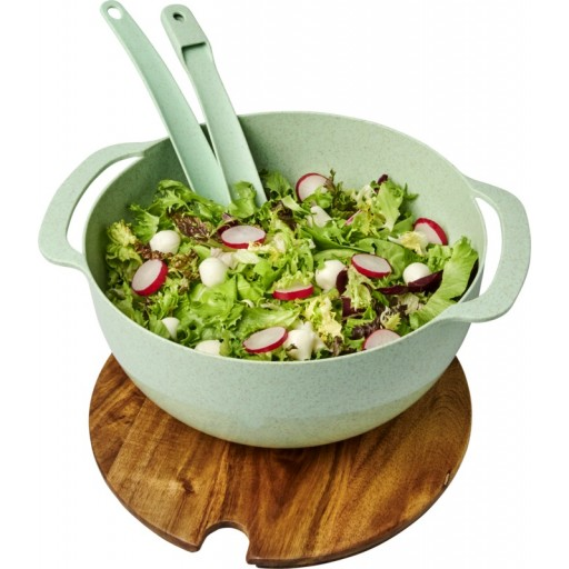 Lucha Salatschüssel aus Weizenstrohfaser mit Servierbesteck   Mintgrün