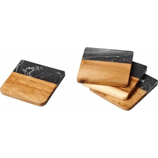 Harlow Untersetzer aus Marmor und Holz | Holz,Grau