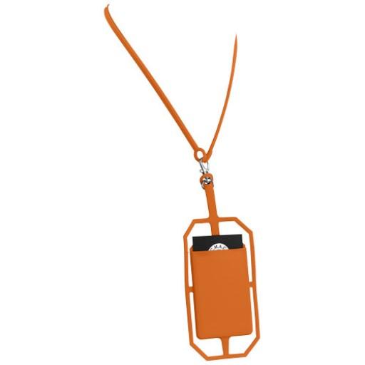 Silikon RFID Kartenhalter mit Lanyard   Orange