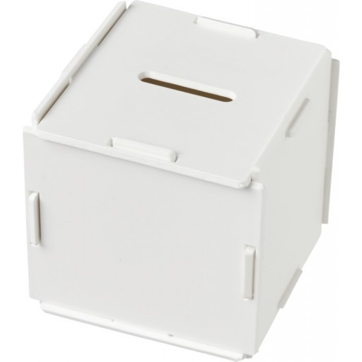Collect quadratische Spardose aus Kunststoff   Weiss