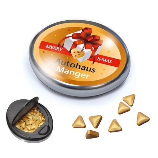 Snap-Master-Dose mit goldfarbenen Pfefferminzpastillen in Dreiecksform