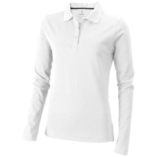 Oakville Damen Langarm Poloshirt | Weiß | XS