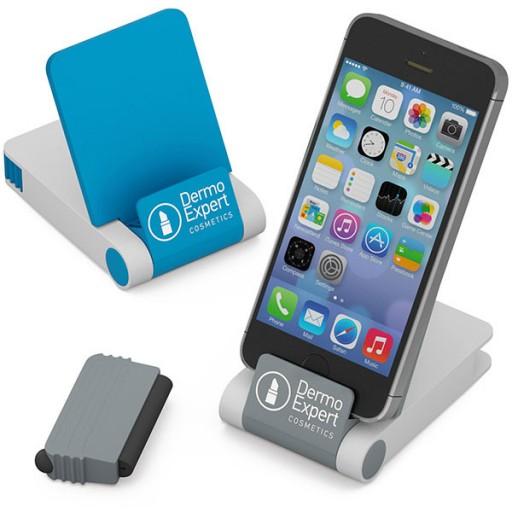 3-in-1 Handyhalter mit Cleanpad und Tablet-Stift  | Blau
