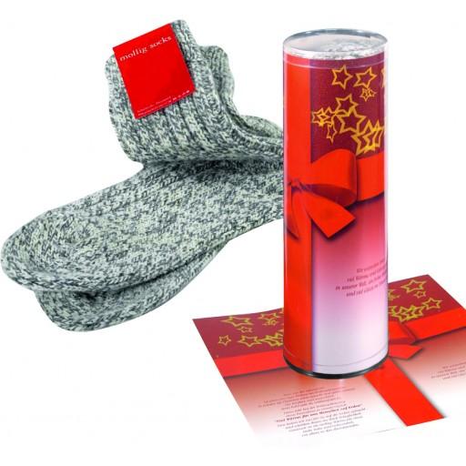 Mollig Socks in Geschenkrolle mit Grußkarte