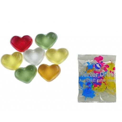 HARIBO Mini-Herzen, bunt 6,5 Gramm | Transparente Folie | 1-farbig