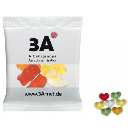 HARIBO Mini-Herzen, bunt 20 Gramm | Transparente Folie | 4-farbig