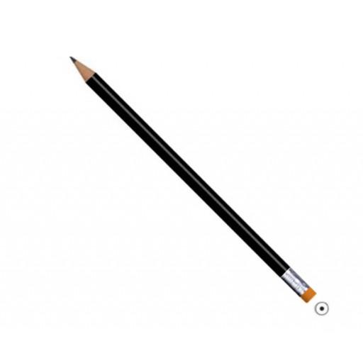 Bleistift mit Radierer rund, schwarz, als Werbegeschenk