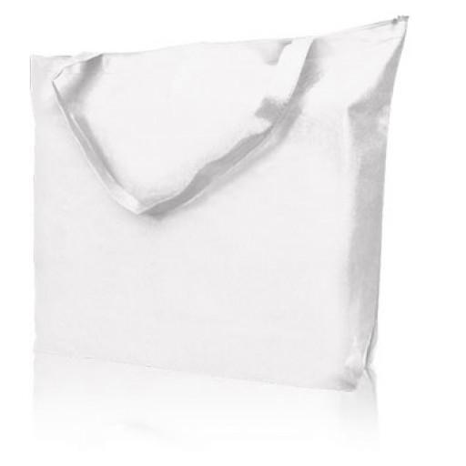 Non-Woven-Reißverschlusstasche Stockholm, weiß mit Ihrem Werbedruck