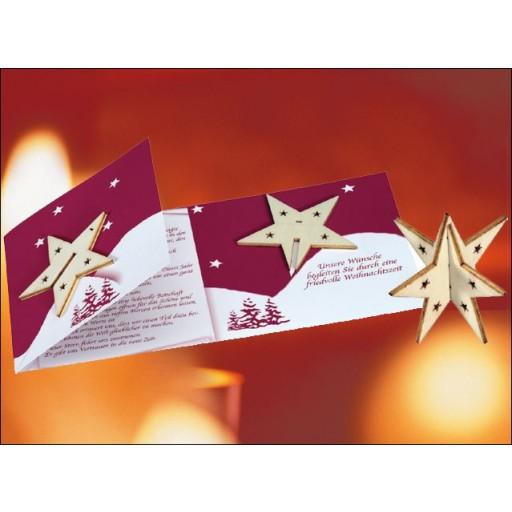 Sternen-Karte mit Holz-Stern