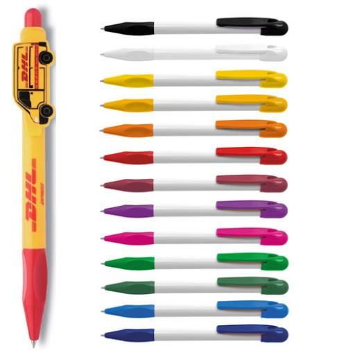 Kugelschreiber mit Individuellem Clip Logoclip-Kugelschreiber Alfa | Weiß-Schwarz | blau-schreibend günstig bedrucken lassen