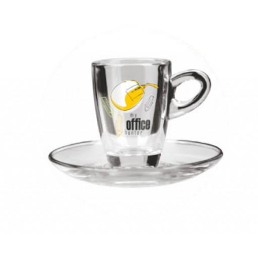 Glas-Espressotasse mit Unterteller Arizona, klar