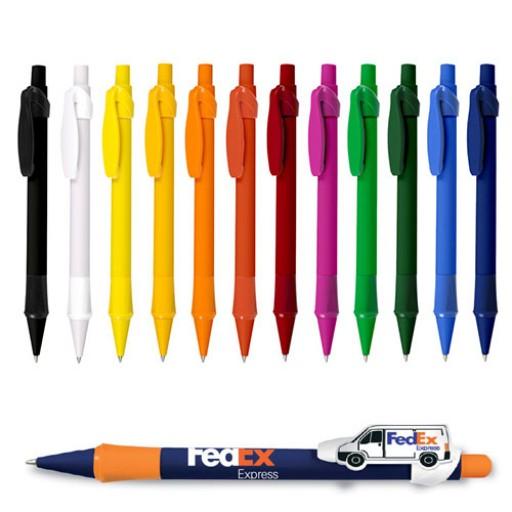 Kugelschreiber mit Individuellem Clip Logoclip-Kugelschreiber Buggy 007 | Schwarz | blau-schreibend günstig bedrucken lassen