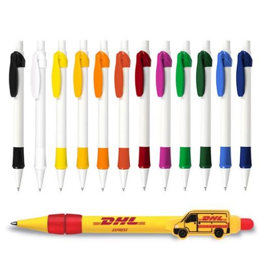 Kugelschreiber mit Individuellem Clip Logoclip-Kugelschreiber Buggy | Weiß-Schwarz | blau-schreibend günstig bedrucken lassen
