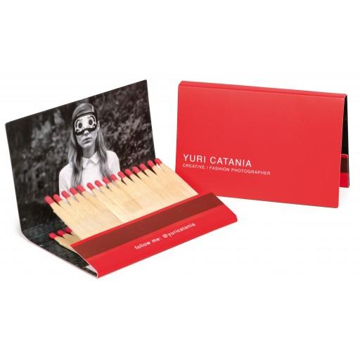 Streichholzbriefchen Kreditkarte | Köpfchen in Rot | 1-farbiger Logodruck