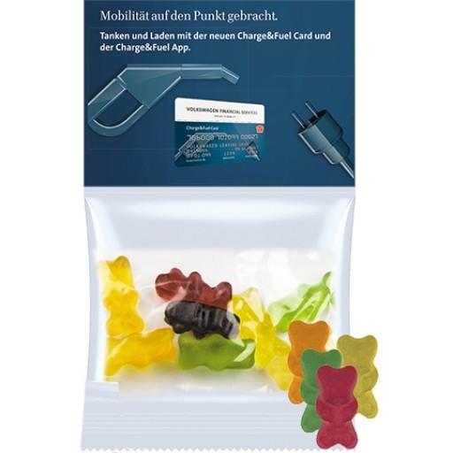 Bio Gummibärchen mit Gelatine, ca. 30g, Express Maxi-Tüte mit Werbereiter | transparente Folie