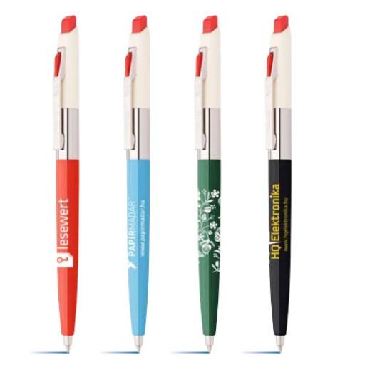 """Kugelschreiber mit Individuellem Clip Retro-Kugelschreiber """"1970""""   Rot   blau-schreibend günstig bedrucken lassen"""