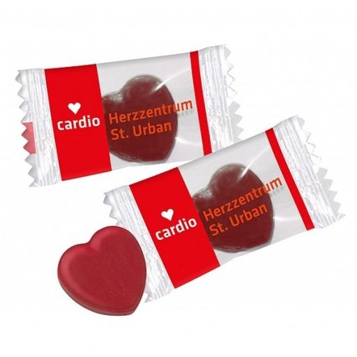 Herz-Bonbons im Flowpack