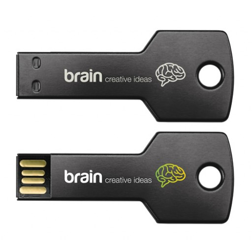 Express-USB-Stick Alu-Schlüssel | Schwarz | 2 GB als Werbeartikel