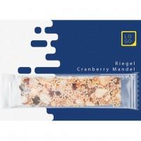Bio Müsliriegel Cranberry-Mandel, ca. 25g, Express Flowpack auf Werbekarte