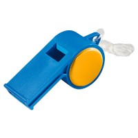 "Trillerpfeife ""Sport"" mit Kordel | Blau / Orange"
