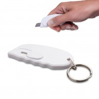 Minicutter mit Schlüsselring REFLECTS TONGI WHITE als Werbemittel in Weiß