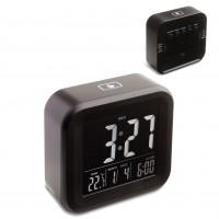 Alarmuhr mit Thermometer REFLECTS ANTIBES als Werbemittel in Schwarz
