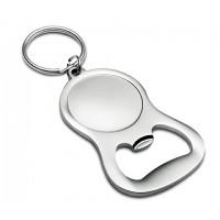 Schlüsselanhänger mit Flaschenöffner REFLECTS-JUMILLA SILVER als Werbemittel in Silber