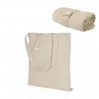Faltbare Leinen-Mix-Tasche mit langen Griffen und Druckknopf