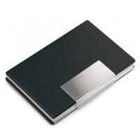 Visitenkartenbox REFLECTS-VALONGO als Werbemittel in Schwarz, Silber