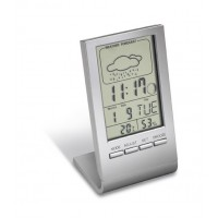 Alarmuhr mit Thermometer REFLECTS-DRANFIELD als Werbemittel in Silber
