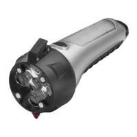 Taschenlampe mit Notfallwerkzeug REFLECTS-STOCKTON als Werbemittel in Schwarz, Silber