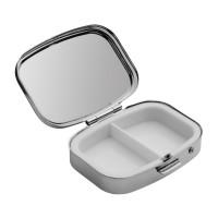 Pillendose REFLECTS-POSADAS als Werbemittel in Silber