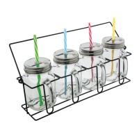 Set aus 4 Gläsern mit Strohhalmen REFLECTS-ARACUJA als Werbemittel in Mehrfarbig, Transparent