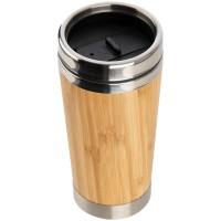 Trinkbecher aus Edelstahl mit einer Bambussummantelung