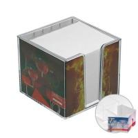 Zettelspeicher, doppelwandig mit Köcher, ohne Papier | Glasklar