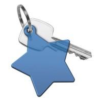Schlüsselanhänger Stern | Blau-Transparent