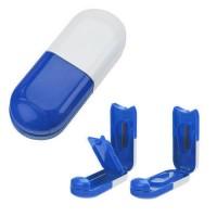 Pillendose Tablettenform | Weiß / Blau