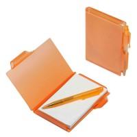 Notizbuch mit Kugelschreiber | Orange-Transparent