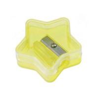 Bleistiftspitzer, Sternform | Glasklar / Gelb-Transparent