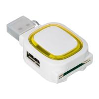 USB-Hub mit 2 Anschlüssen und Speicherkartenlesegerät REFLECTS-COLLECTION 500 als Werbemittel in Weiß/Gelb