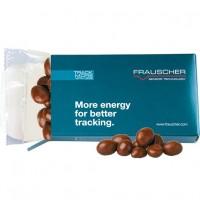 Bio Erdnüssen in Vollmilschschokolade, ca. 30g | Midi-Faltschachtel