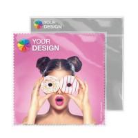 POLYCLEAN Brillenputztuch Quadrat klein 15x15 cm | Polybeutel mit Einlegekarte